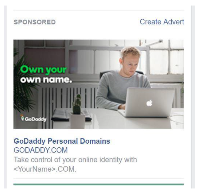 Display ad on Facebook